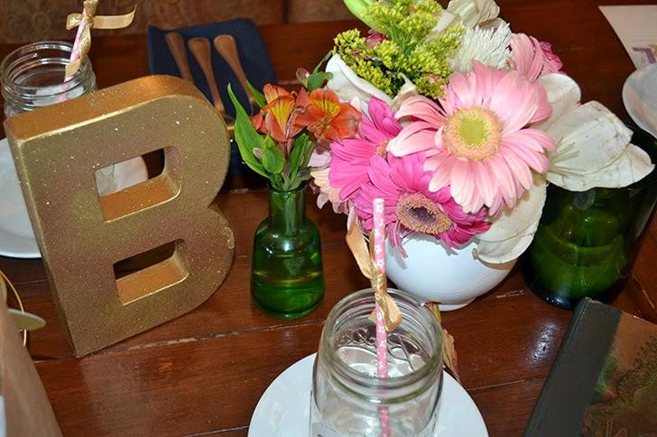 glitter B and fresh flowers