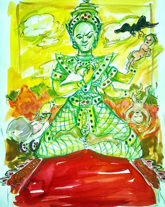 "Editorial Illustration ""Mom as the Goddess Kali"""