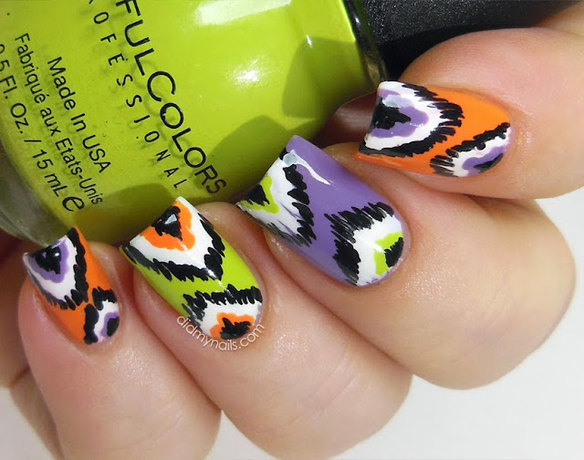 ikat manicure for Halloween