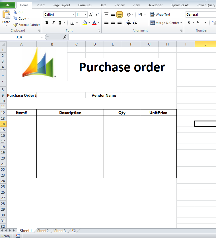 Export Purchase Order Data to MS Excel template with Dynamics AX – Simple Purchase Order Form