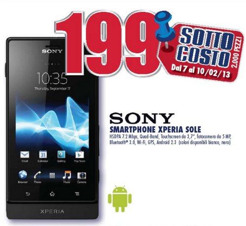 Offerta promozionale a prezzo sottocosto dal 7 al 10 febbraio 2013 per il modello Xperia Sole venduto a soli 199 euro da Trony