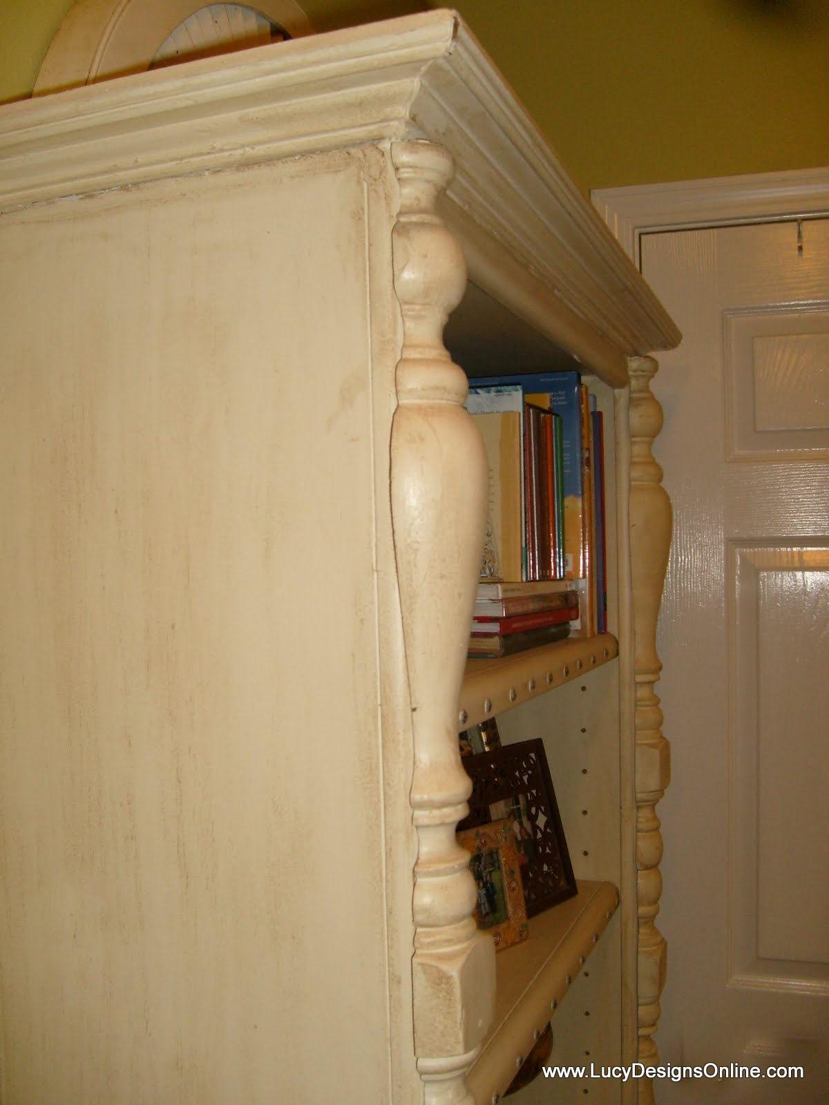 wooden bookcase makeover with molding
