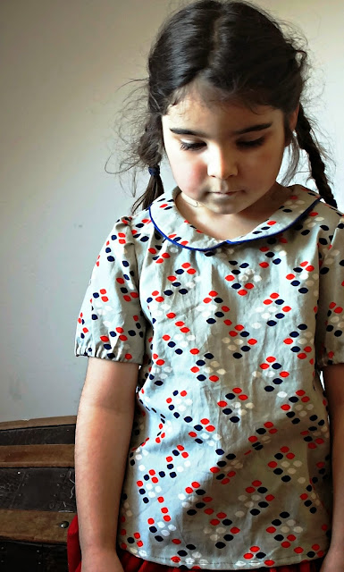 Akiko Mano, Linen cotton wool kids, button backed puffed sleeve blouse, Cookie Book, Kimberly Kight, Cotton and Steel