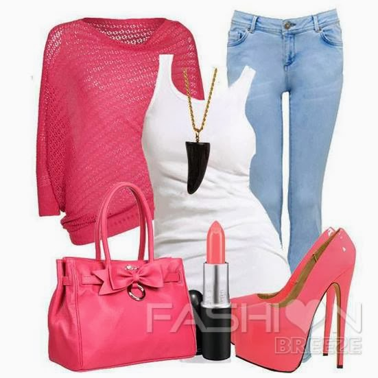 Pink sweater, white blouse, jeans, handbag and sandals for fall