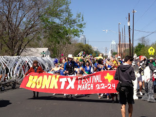 Honk band festival in Austin with children