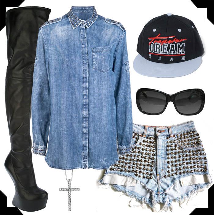 GANG GIRL-Rihanna-o estilo de rihanna-moda de rua-jeans-trend jeans-t-shirts-como usar camiseta no look-07