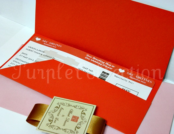Boarding Pass Red Double Happiness Chinese Wedding Invitation Card, boarding pass style, wedding invitation cards, red pocket card, boarding pass card, wedding card, pocket fold, red double happiness card, chinese wedding card