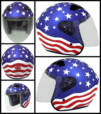 Stars and stripes motorcycle helmet