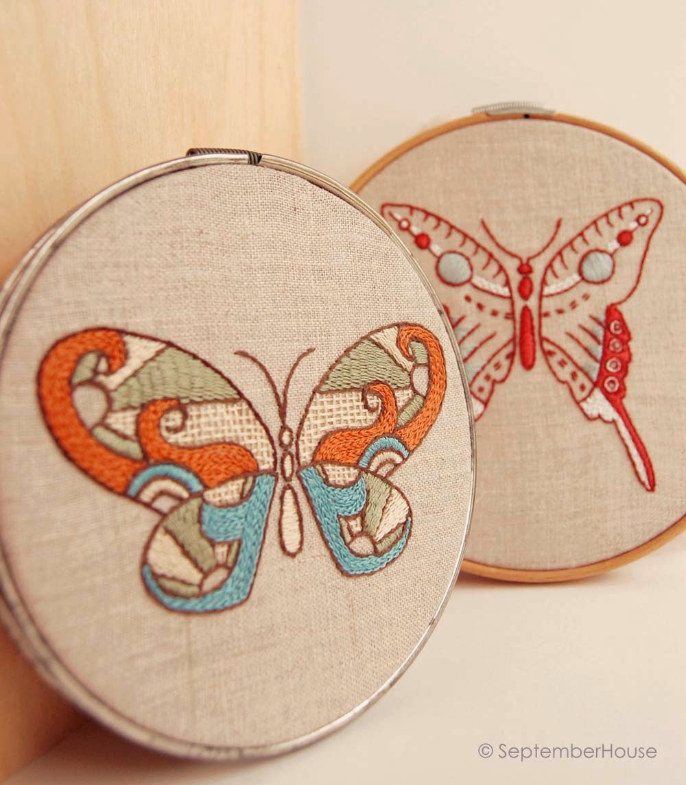 hand embroidery designs modern butterflies
