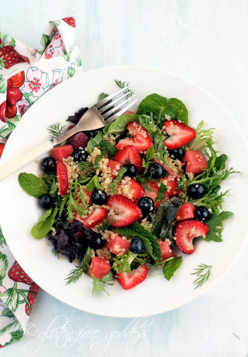 Summer quinoa salad with strawberries and mint