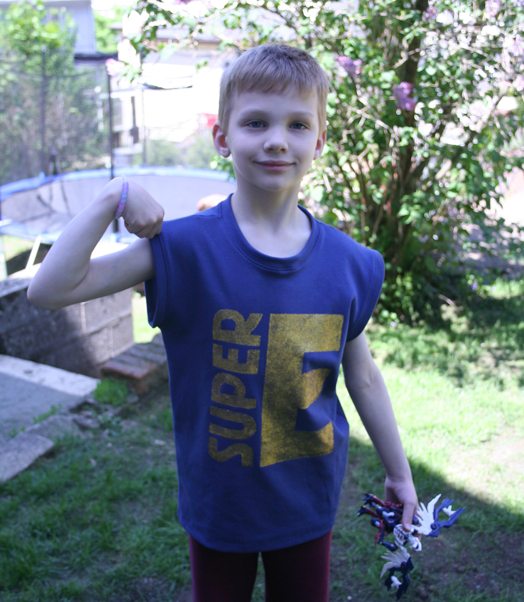 """Super E"" Muscle Tee by Tangible Pursuits for Embellish is for Boys"