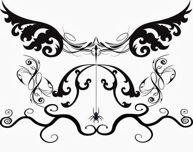 Lower back Gothic tattoo stencil