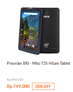 Preorder BRI - Mito T35 Tablet Hitam Rp 749.000