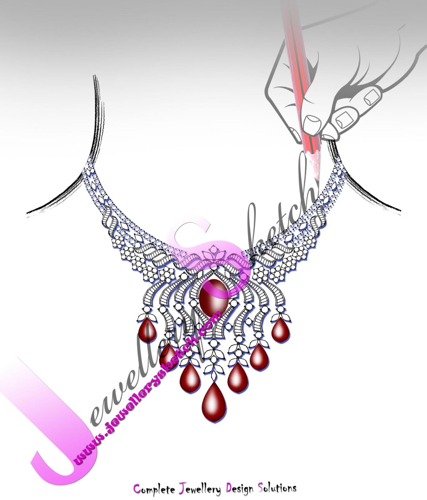 Easy Customized jewellery sketch design : diamond & gold jewellery ...