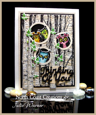 North Coast Creations Stamp set: Who Love You?, North Coast Creations Custom Dies: Owl Family, Thinking of You, Our Daily Bread Designs Custom Dies: Ovals, Our Daily Bread Stamp set: Birch Tree Background