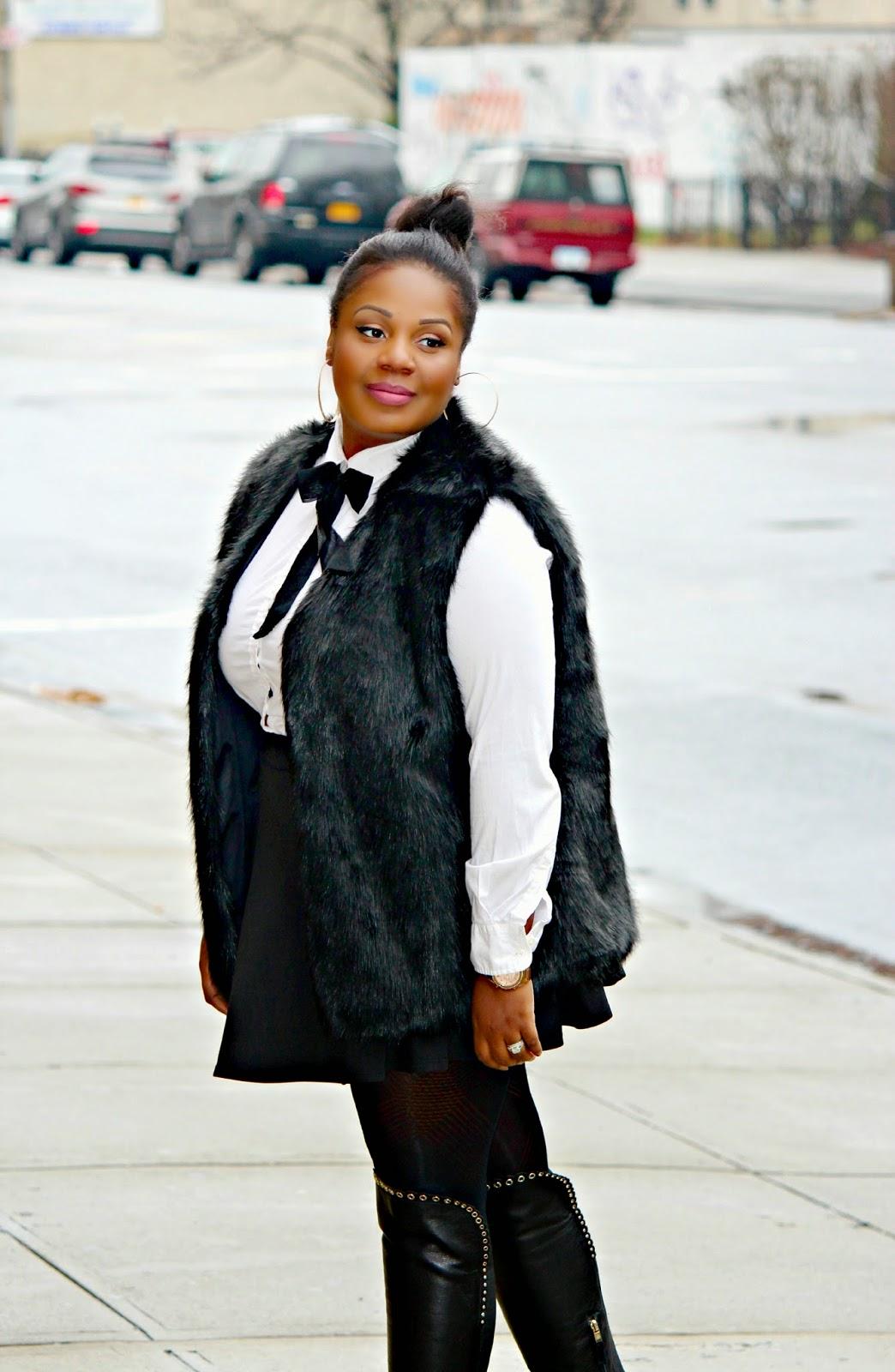 asos curve fur gilet, how to wear a fur vest