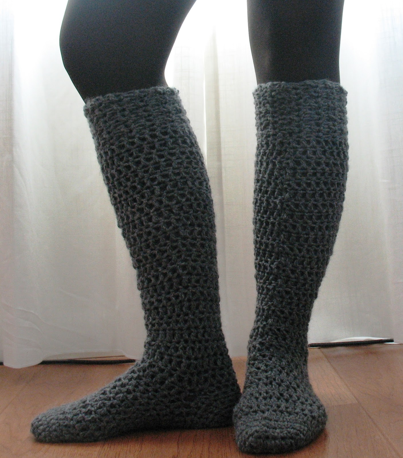 Free Crochet Pattern Knee High Socks : Ball Hank n Skein: Knee-High Boot Socks!