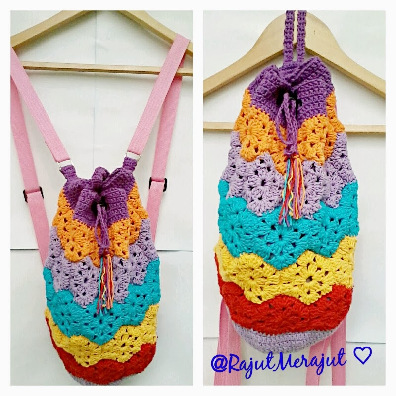 crochet backpack, tas rajut ransel, tas ransel rajut, rainbow color, tas punggung rajut, ransel rajut, beli tas rajut backpack, tas rajut, crochet bag