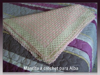 """Mantita Bebé """"Alba"""" a Crochet o Ganchillo (PATRONES y GRÁFICOS)"""