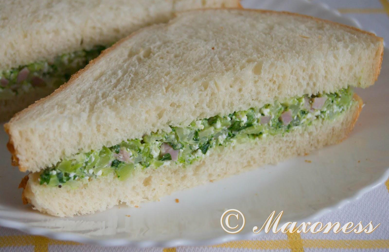 Сэндвич с брокколи и ветчиной