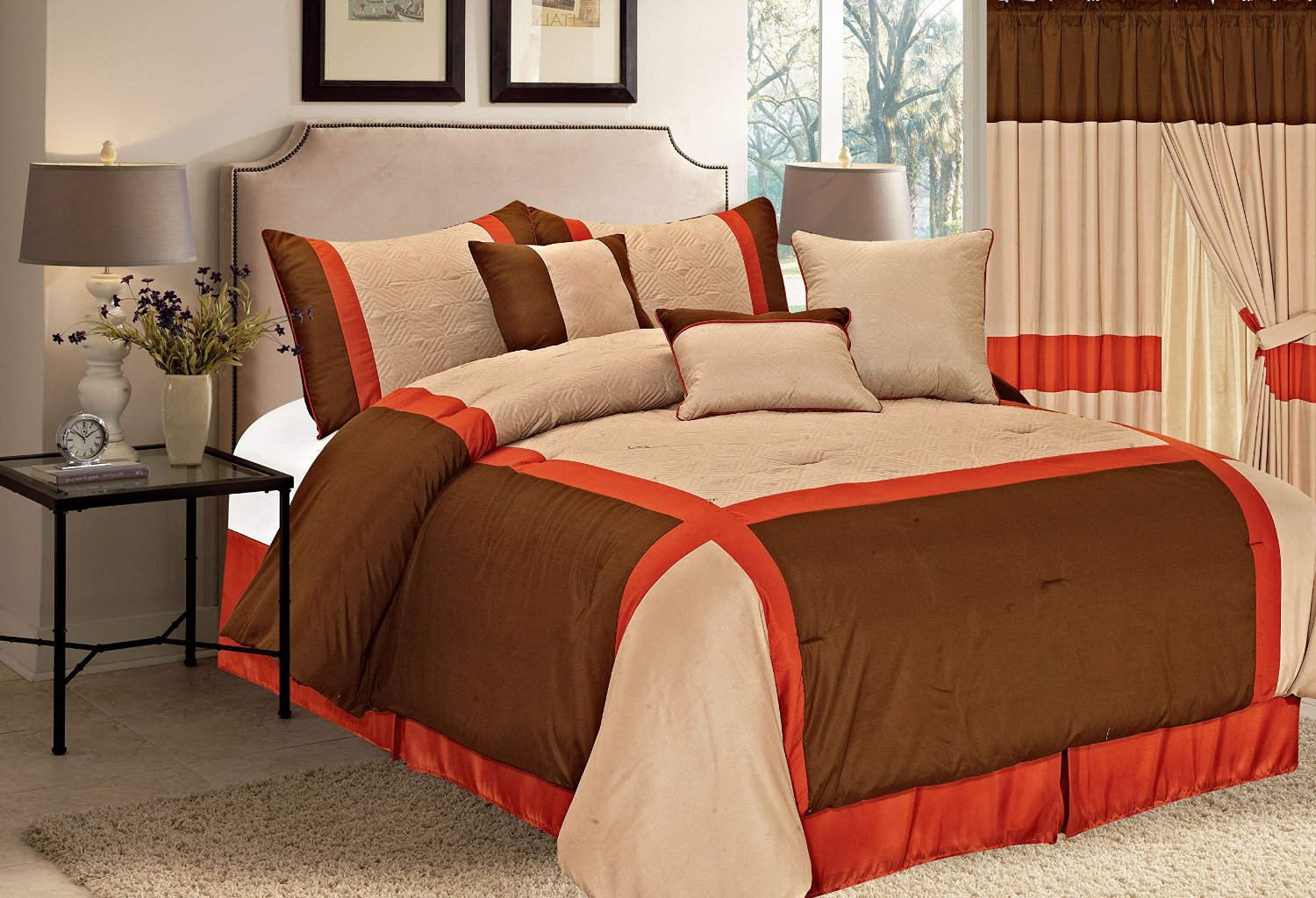 Brown and orange bedding - Orange Brown Window Treatments With Your Bedding Set Or Not