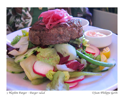 Image of burger salad at 5 Napkin Burger restaurant in Hell's Kitchen NYC, New York