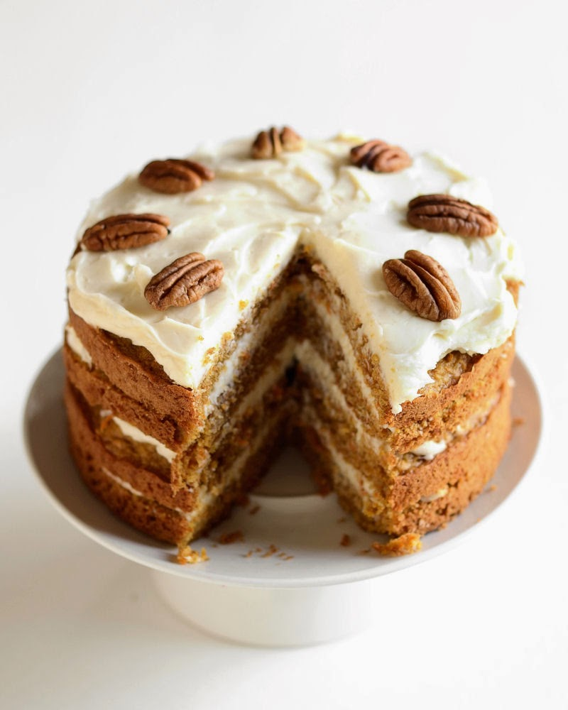 Carrot Cake with Maple Cream Cheese Frosting - Buttered ...