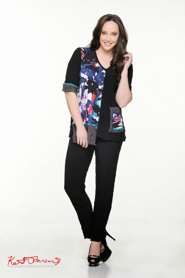Kathleen Berney Look Book SS 2013 - Contrasting black vs colour jacket with pants. Photo by Kent Johnson.