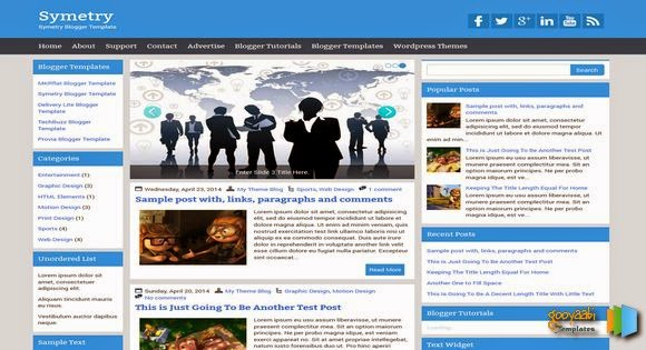 Chia sẻ Symetry Responsive Blogger Template đẹp 2014