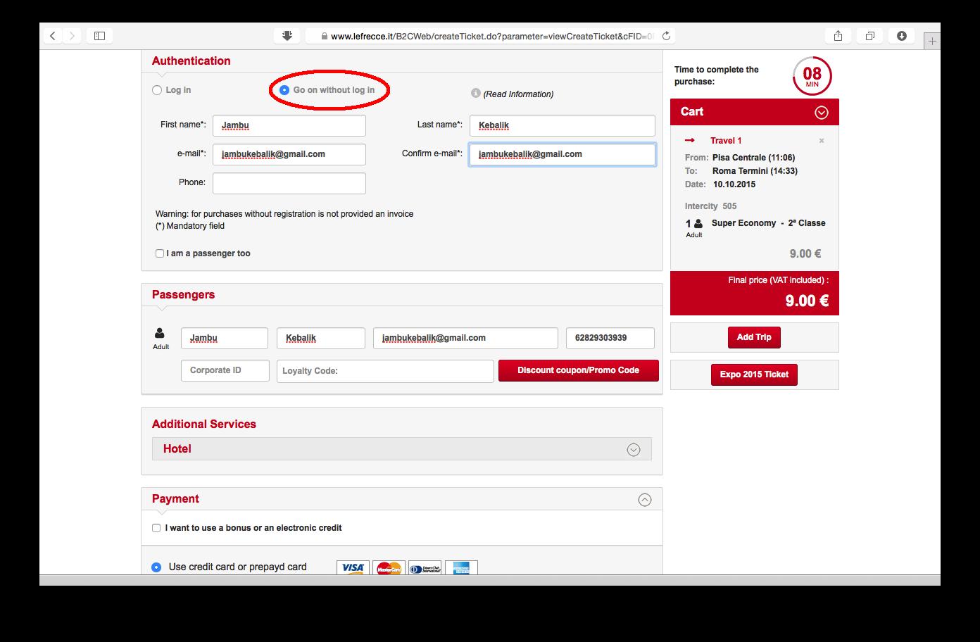 Tampilan web Trenitalia: memasukkan data pribadi