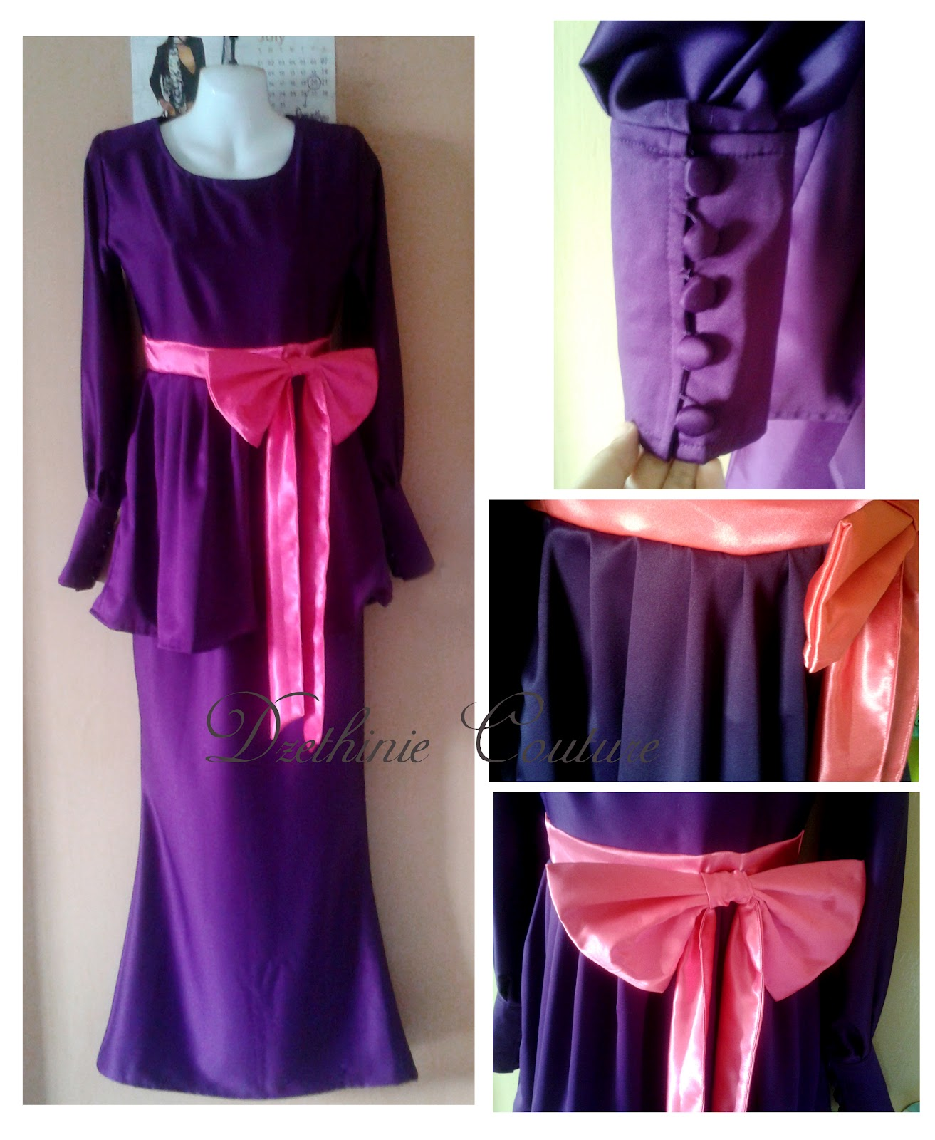Pleated Peplum Kurung with Cuff Sleeve For Suraya