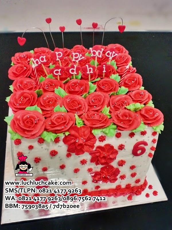 Kue Tart Merah Bunga Mawar Romantis Daerah Surabaya - Sidoarjo