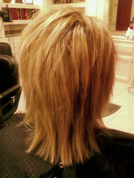 Heavy blonde highlights and razor cut shag on fine, straight, medium ...