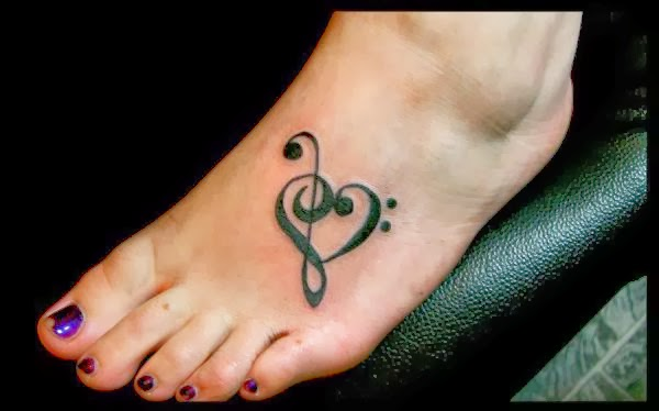 Music note tattoo on foot. There are a few very good reasons why this option could be perfect for a girl.