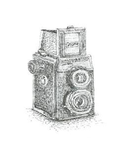 Lukisan Kamera dari Mesin Ketik