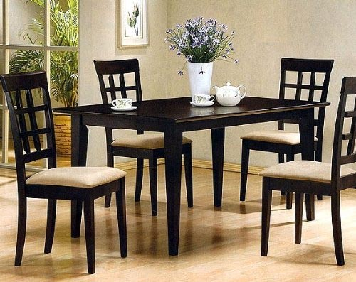 Contemporary Style Cappuccino Finish Solid Wood Dining Table