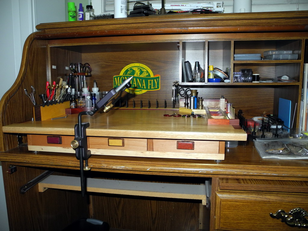 Fly Tying Desks And Benches - Set up at my desk