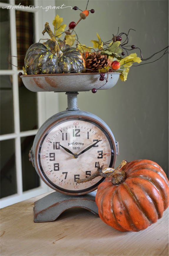 Have you started decorating for fall?  Check out this Fall Vignette in a kitchen scale | www.andersonandgrant.com