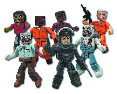 The Walking Dead Minimates Series 3 Action Figures - Dreadlock Zombie, Guard Zombie, Tyreese, Dexter, Rick Grimes in Riot Gear, Farmer Zombie & Hershel