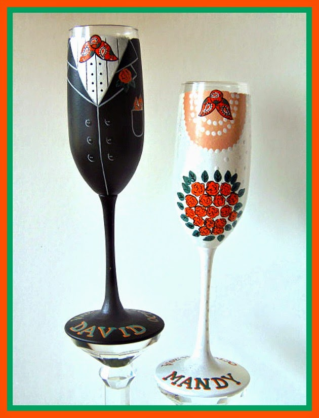 Western Themed Custom Painted Wedding Champagne Flutes
