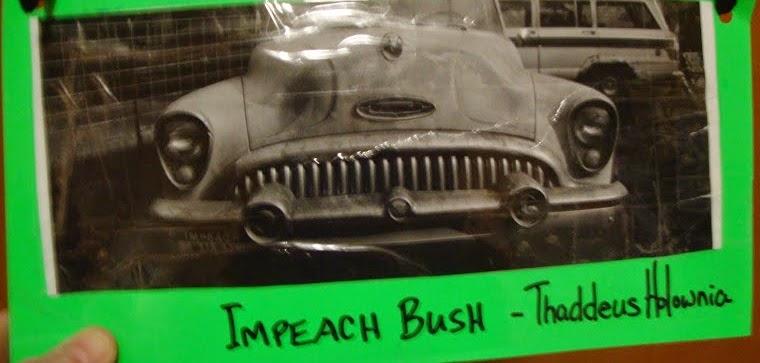 """Thaddeus Holownia... """"Impeach Bush"""" postcard art [click pic]"""