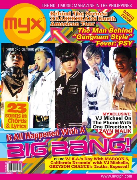 big bang and rhum rockfest artists cover myx magazine issue 32 january 2013 bida kapamilya. Black Bedroom Furniture Sets. Home Design Ideas