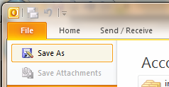 How to save Outlook 2010 email to disk.
