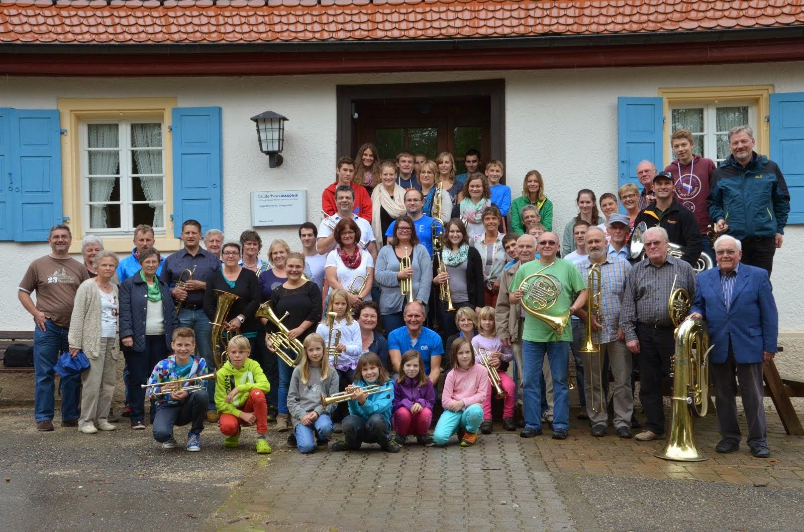 Der Posaunenchor mit Familien im Jubiläumsjahr