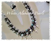 White Alabaster Pearls Crochet Bangle