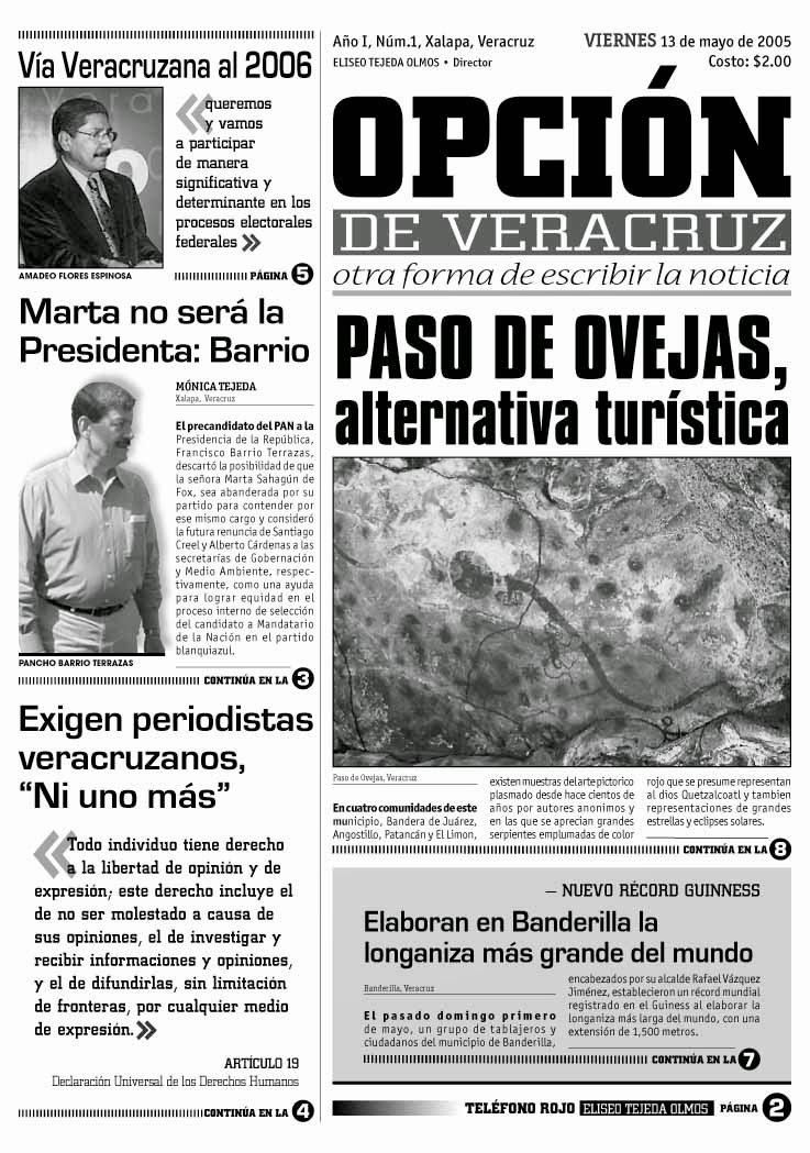 Edición impresa número 1 de Opción de Veracruz