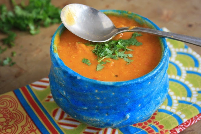 winter squash and roasted red peper lentil soup