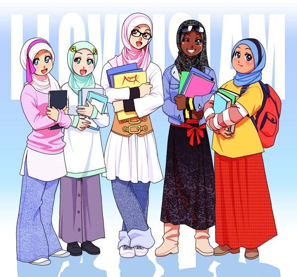 Gambar Kartun Muslimah Yang Keren Dan Cantik Animasi Korea Meme Lucu Emo Bergerak