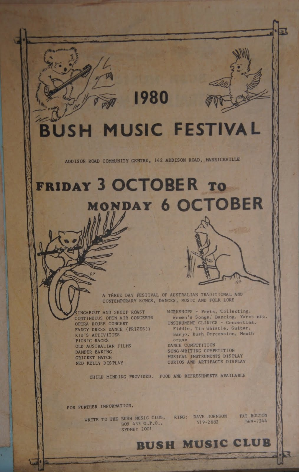 The bush music club bob bolton archives bush music for House music 1980