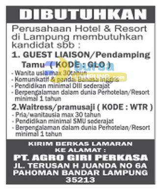 Lowongan Kerja Lampung, Sabtu 03 Januari 2015 di PT. Agro Giri Perkasa